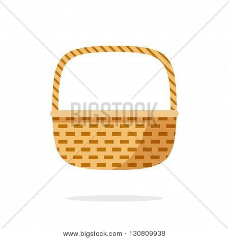 Wicker basket icon vector symbol, empty wicker basket illustration, flat simple modern illustration isolated on white background