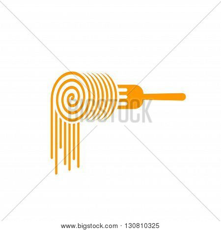 Pasta fork vector logo, fork with pasta roll symbol, concept of noodles brand, food, culinary modern trendy identity, flat pasta logotype design isolated on white background
