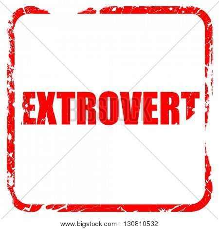 extrovert, red rubber stamp with grunge edges