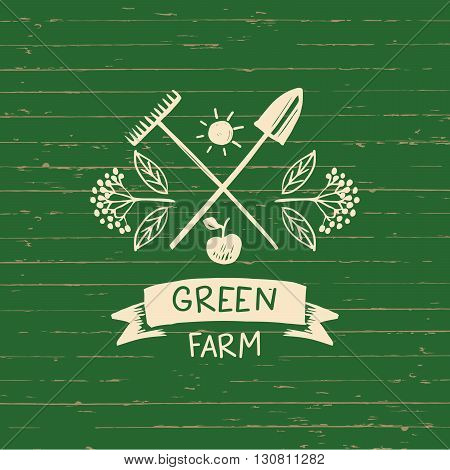 Vector logo green farm.  Sketch for logo agriculture, horticulture.Branch with berries, garden tools, a shovel and a rake. Gardening, growing vegetables and fruit