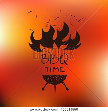 Vector lettering hand drawn logo with red fire background. Illustration for BBQ barbecue time party.  Logo for cafe. barbecue oven, grill for Home, bar, restaurant.