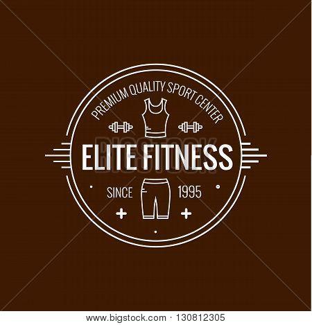 Fitness badge outline vector illustration. Fitness badge  icon  isolated. Fitness badge logo symbol. Fitness badge logo for sport design. Training concept fitness badge isolated logo