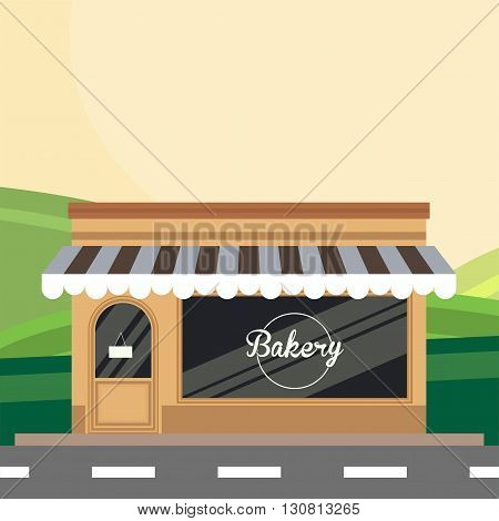 Modern landscape set with bakery building. Flat style vector illustration. Food shop, cake cafe, bread shop isolated. Bakery store background. bakery shop, bakery sweets.