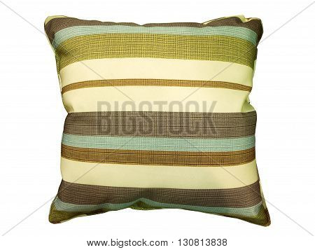 Decorative stripes pillow. Isolated on white background.