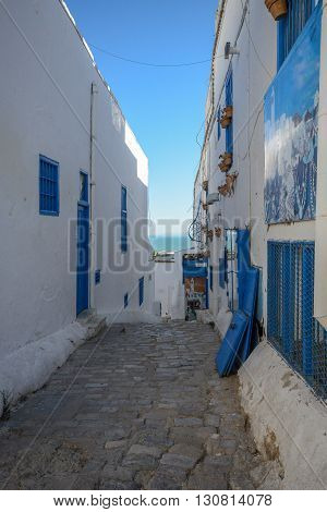 Sidi Bou Said. La Gulett Tunisia. White and blue town