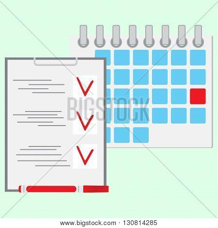 Deadline of daily work concept. Calendar day daily calendar diary and daily planner daily business icon. Vector flat design illustration
