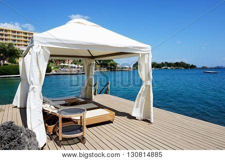The hut near beach at luxury hotel Corfu Greece