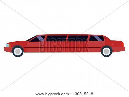Limousine illustration. limousine on white background. Red limousine vector. limousine illustration. Limousine isolated vector