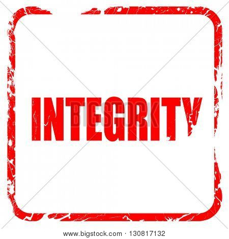 integrity, red rubber stamp with grunge edges