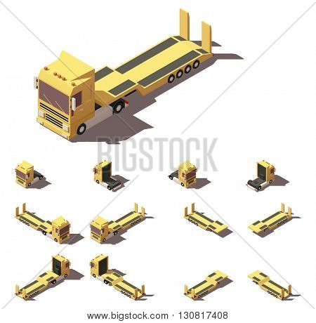 Vector Isometric icon or infographic element representing truck or tractor with lowboy trailer or semi-trailer. Every truck and trailer in four views with different shadows
