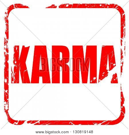 karma, red rubber stamp with grunge edges