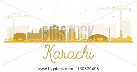 Karachi City skyline golden silhouette. Vector illustration.