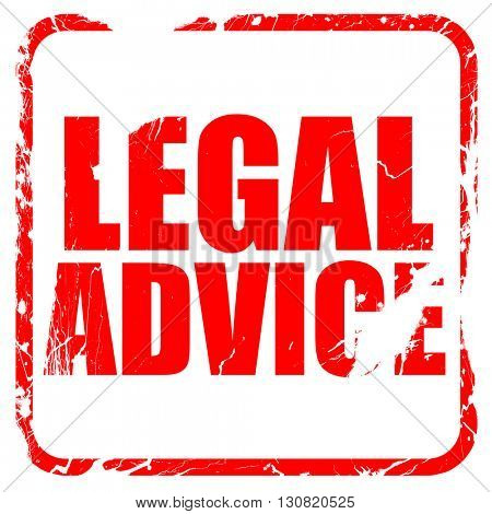 legal advice, red rubber stamp with grunge edges
