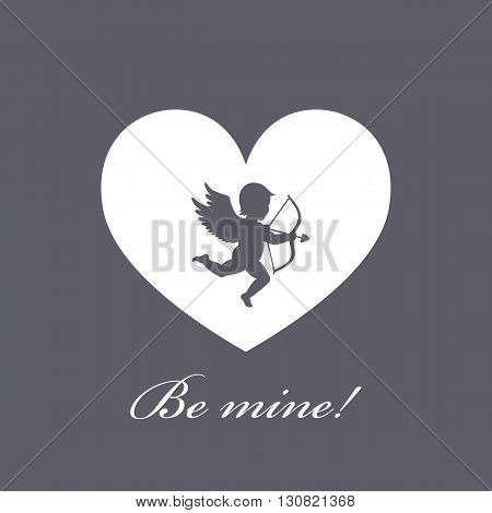 The 14th of February. Cupid with bow and arrow. greeting card for Valentine's Day. The 14th of February