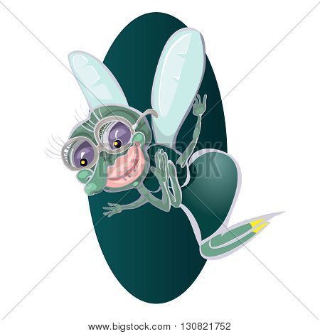 Cute little cartoon fly insect in blue with big googly eyes and a protruding proboscis.vector