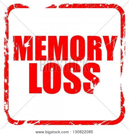 memory loss, red rubber stamp with grunge edges