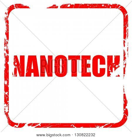nanotech, red rubber stamp with grunge edges