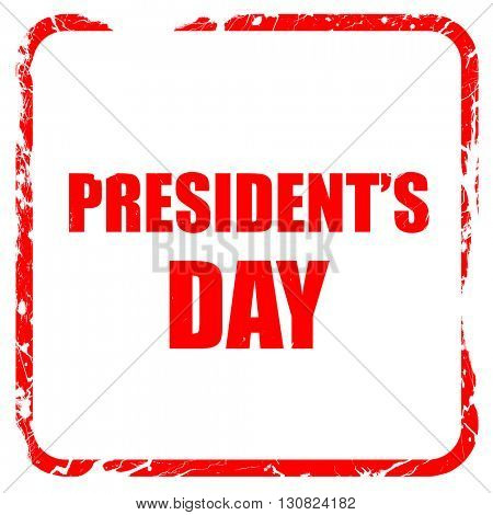 president's day, red rubber stamp with grunge edges
