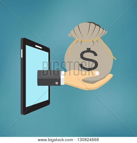Hand with money bag comes from the screen of smartphone.