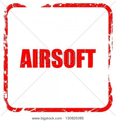 airsoft sign background, red rubber stamp with grunge edges