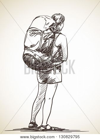Sketch of woman from back standing with backpack, Hand drawn illustration