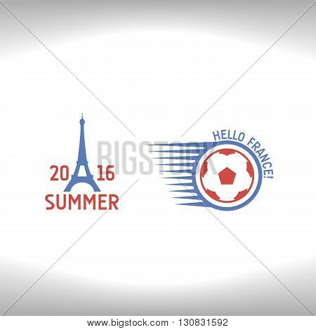 Emblems for euro 2016. Emblem of the Eiffel Tower and soccerball