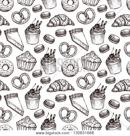 Hand drawn vector illustration - Seamless pattern with sweet and dessert. Yummy background (croissant cupcakes pretzels cake cheesecake macaroon).
