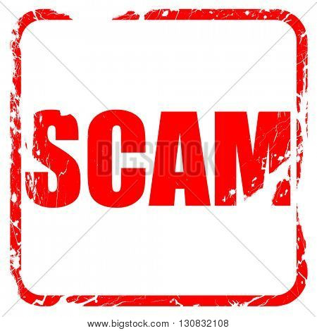 scam, red rubber stamp with grunge edges