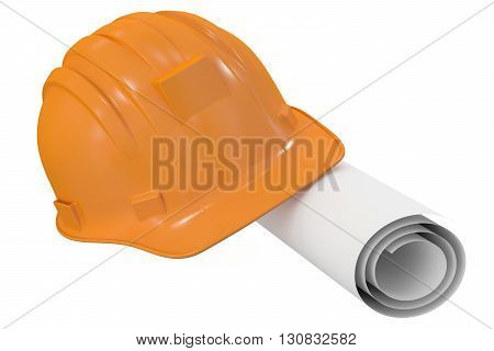 hard hat with blueprint 3D rendering isolated on white background