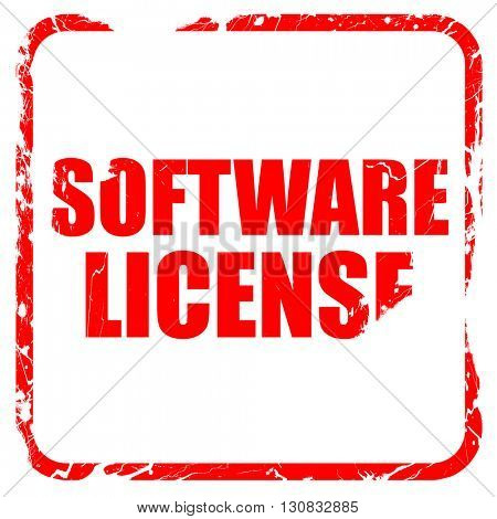 software license, red rubber stamp with grunge edges