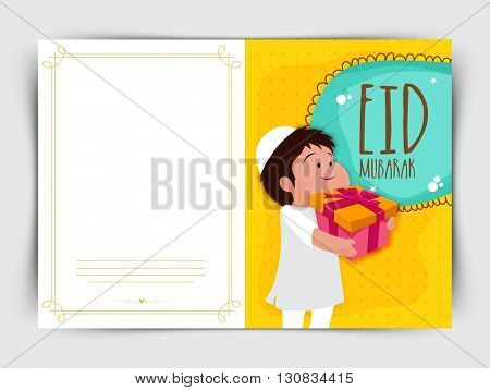 Beautiful Greeting Card with cute Islamic Boy holding a gift, Celebrating and enjoying on occasion of Eid Mubarak.