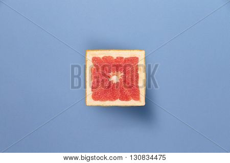 Square grapefruit. An amazing new kind of grapefruit. Fruit in a cut.