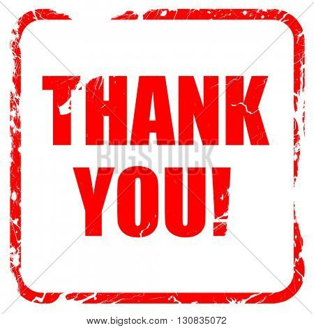 thank you, red rubber stamp with grunge edges
