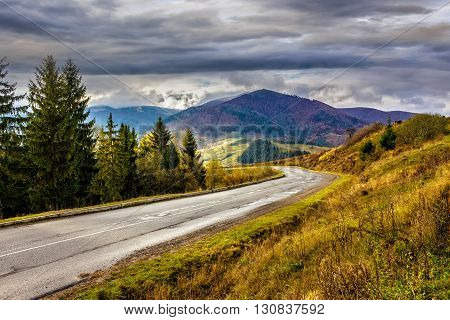 Mountain Road Near The Coniferous Forest With Cloudy Sky
