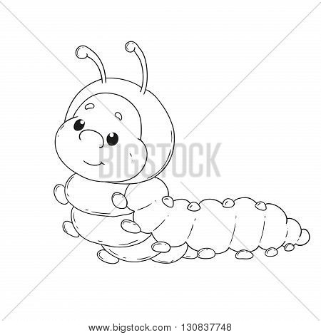 Cartoon character caterpillar. Cheerful worm for coloring book vector