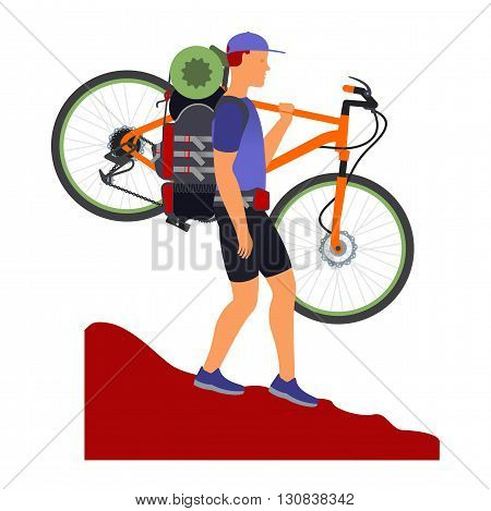 Bicycle Travel. Man Descends From The Mountains