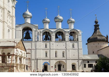 Rostov, Russia - June 3: This is the four towers belfry of Rostov Kremlin June 3, 2013 in Rostov, Russia.