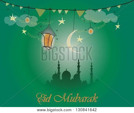 Creative greeting card design for holy month of muslim community festival Eid Mubarak with moon and hanging lantern and stars on green background.