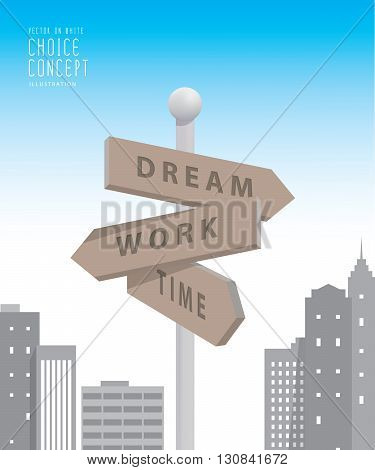 Illustration vector guidepost in the big city with buildings metaphor of decision. make something about dream and work.