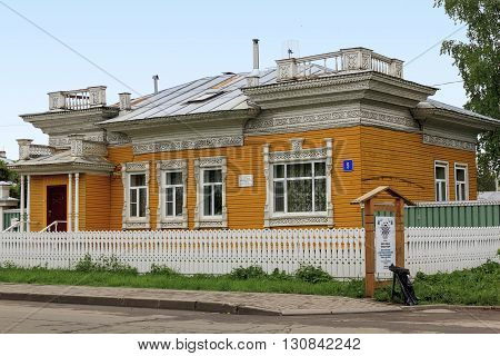 Vologda, Russia - May 24: This dwelling house is a monument of wooden architecture of the Russian North May 24, 2013 in Vologda, Russia.