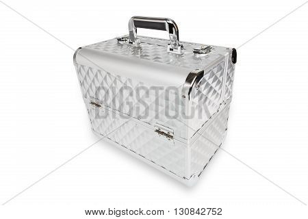 Professional aluminum makeup box isolated at white background. Make up case for professional make-up artist. Beautician tools silver metal suticase.