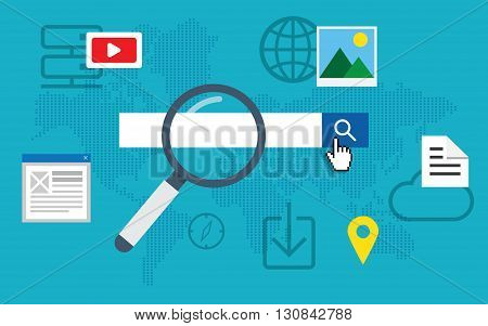 Flat loupe icon SEO Search engine optimization. Data finding. Content analyzing.