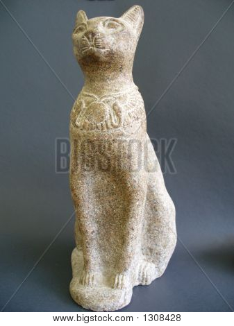 statue of an egyptian cat carved from aswan granite poster