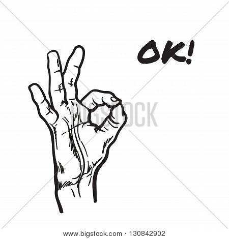 Hand showing OK. Painted hand  Everything is fine. Good. Fingers do the ring. OK symbol. Isolated hand. One hand. Symbol everything is fine.