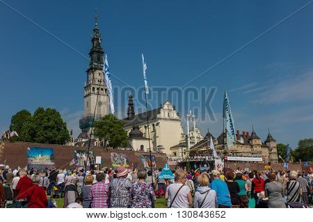 CZESTOCHOWA POLAND - May 21 2016: Vigil Catholic Charismatic Renewal meeting Czestochowa Poland in front of Jasna Gora Anniversary May 21 2016