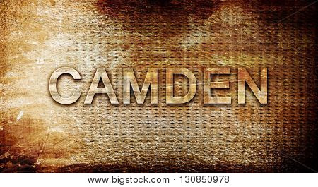 camden, 3D rendering, text on a metal background
