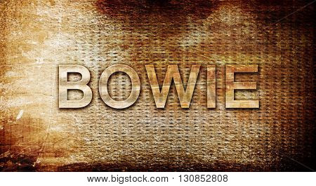 poster of bowie, 3D rendering, text on a metal background