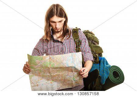 Man Tourist Backpacker Reading Map. Summer Travel.