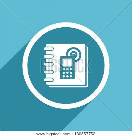 phonebook icon, flat design blue icon, web and mobile app design illustration