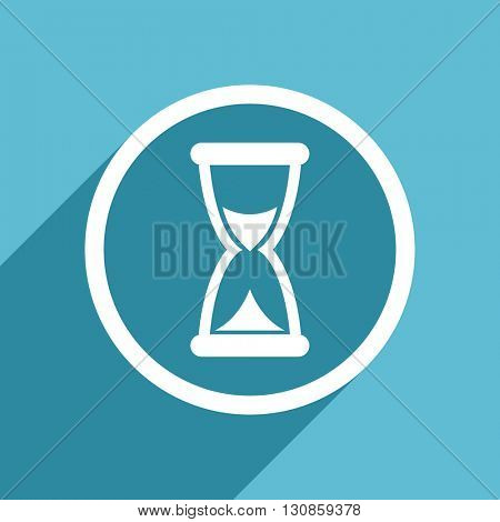 time icon, flat design blue icon, web and mobile app design illustration